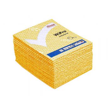 Lavettes non-tissees anti-bacterie wipro jaune 36 x 42 cm - paquet de 20