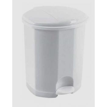 Poubelle a pedale plastique blanche avec seau interieur - 50 l - unite