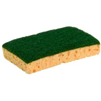 Tampon vert sur eponge vegetale jaune 13 x 9 x 2 cm - paquet de 10