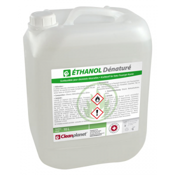 Ethanol denature - combustible pour cheminee decorative - bidon de 10 l