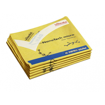 Lavettes microfibre nanotech micro jaune 38 x 40 cm - paquet de 5