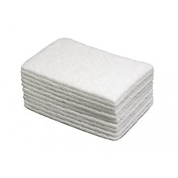 Tampons abrasifs blancs pour entretien 22 x 15 cm - paquet de 10
