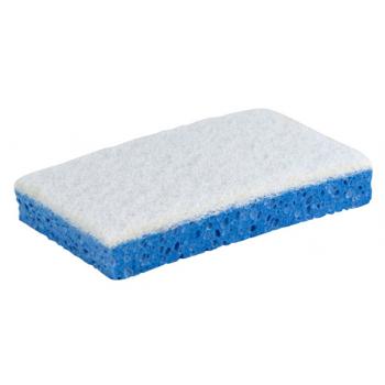 Tampon blanc sur eponge vegetale bleue sanitaire 13 x 9 x 2 cm - paquet de 10