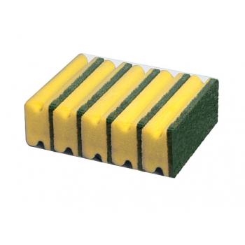Eponges jaunes + abrasif vert 14,5 x 7 x 4,5 cm - paquet de 5