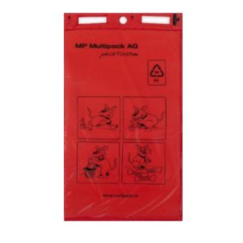 Sac pour excréments canins HDPE 14my rouge en bloc, perforation universelle - Carton de 2000